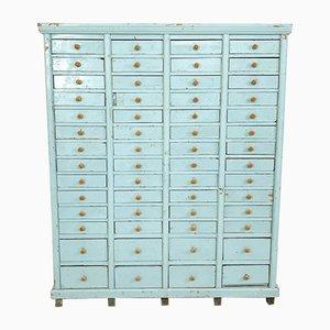 Vintage Industrial Blue Painted Wood Drawer Cabinet