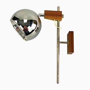 Mid-Century Space Age Globe Wall Lamp in Teak from Temde