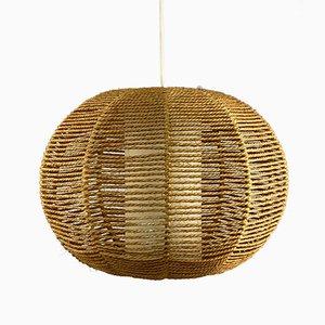 Mid-Century Space Age Ball Pendant Lamp in Bast Braid
