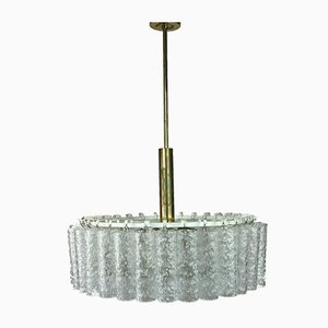 Large Mid-Century Space Age Chandelier or Ceiling Lamp in Glass & Brass from Doria