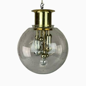Large Mid-Century Space Age Ball Ceiling Lamp in Glass from Doria
