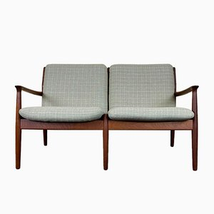 Mid-Century Teak 2-Seater Couch by Grete Jalk for Glostrup, Denmark, 1960s