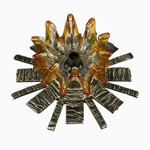 Brutalistische Mid-Century Wandlampe aus Eisen & Glas