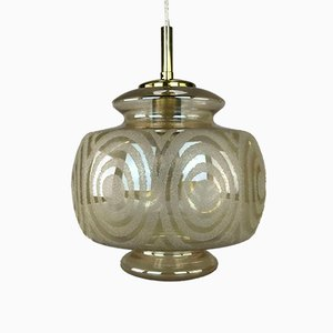 Mid-Century Space Age Hanging Ball Lamp in Bubble Glass & Brass