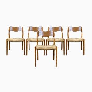 Chaises de Salle à Manger Mid-Century en Teck par Niels O. Möller pour JL Møllers, Set de 5