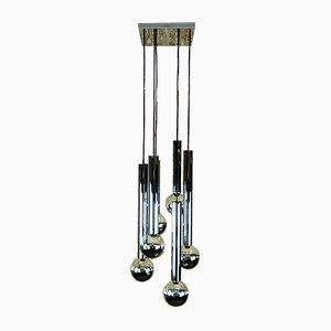 Mid-Century Chrom Kaskadenlampe mit 6 Leuchten von Motoko Ishii für Staff