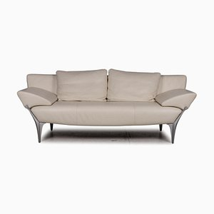 Cream Leather 1600 Three-Seater Sofa by Rolf Benz