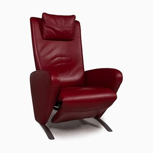 Red Leather Picco Armchair with Relaxation Function from FSM