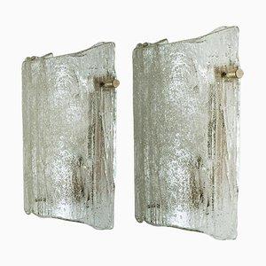 Solid Glass Wall Lights by J. T. Kalmar, 1960s, Set of 2