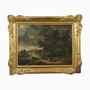 Paesaggio con cacciatori, olio su tela
