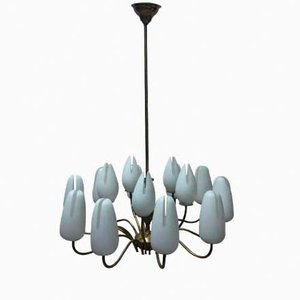 Italian Vintage Brass and Frosted Glass Chandelier, 1950s