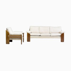 Walnut Sofa and Armchair by Sapporo for Mobil Girgi, Italy, Set of 2