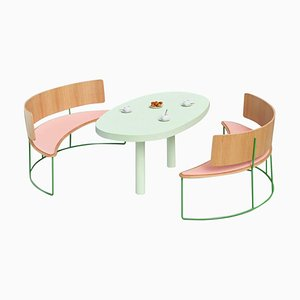 Pink Boomerang Benches by Cardeoli, Set of 2