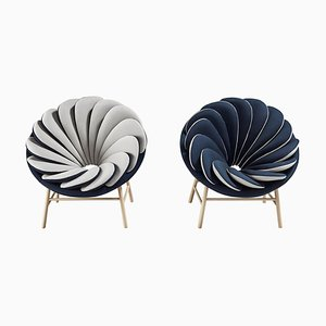 Gray and Blue Quetzal Armchairs by Marc Venot, Set of 2