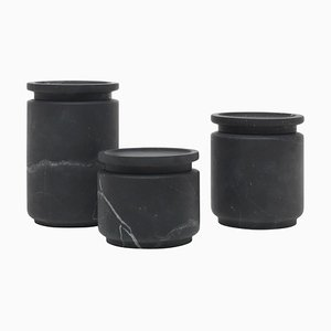 Black Pyxis Pots by Ivan Colominas, Set of 3