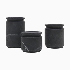 Schwarze Pyxis Töpfe von Ivan Colominas, 3er Set