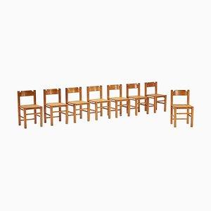 Chaises de Salon en Pin par Le Corbusier, Set de 8