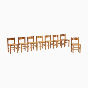 Pine Dining Chairs by Le Corbusier, Set of 8