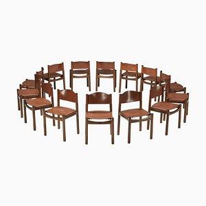 Chaise de Salle à Manger en Noyer et Cuir