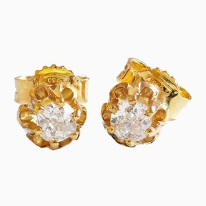 Point of Light Earrings in 18K Gold with Cut Diamonds, Set of 2