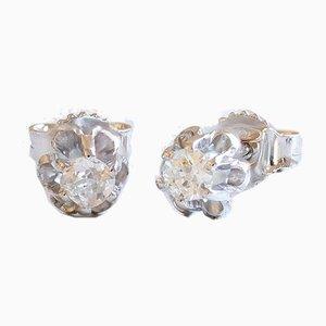 Boucles d'Oreilles Point of Light en Or Blanc 18K avec Diamants Taillés, Set de 2