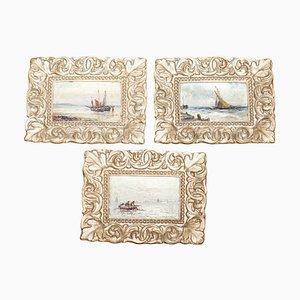 Peintures à l'Huile Miniatures par Gustave De Breanski, Set de 3