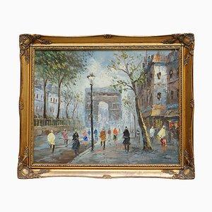 French Parisian Arc De Triomphe Painting, Oil on Canvas