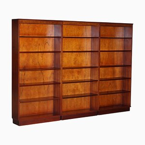 Vintage Flamed Hardwood Library Bookcases from Beresford & Hicks, Set of 3
