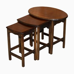 English Hardwood Nesting Tables, 1940s, Set of 3