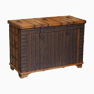 Antique Teak and Brass Dowry Chest, 1880s
