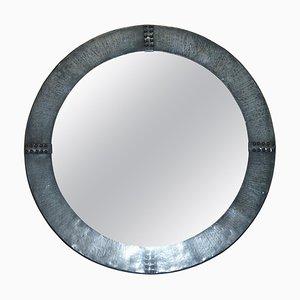 Antique Hand Hammered Pewter Round Wall Mirror, 1900s