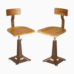 Antique Height Adjustable Bar Stools, Set of 2