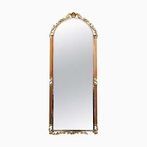 Art Deco Amber / Peach Glass Bevelled Wall Mirror
