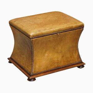 Victorian Tan Brown Leather Ottoman Stool, 1860s