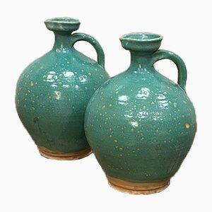 Large Turquoise Glazed Jars, Set of 2