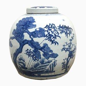 Large Round Delft Blue Ginger Pot