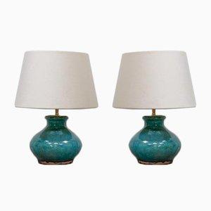 Petites Lampes en Poterie Turquoise, Set de 2