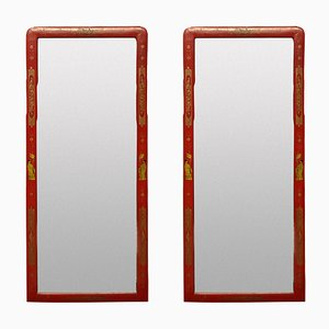Scarlet Japanned Queen Anne Style Mirrors, Set of 2