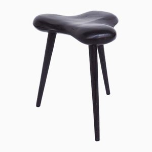 French Stool in Solid Black Lacquered Wood with Anthropomorphic Shape, 1950
