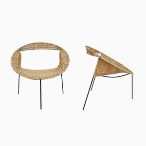 Round Woven Rush Armchairs by Maurizio Tempestini for Rima, 1960s, Set of 2