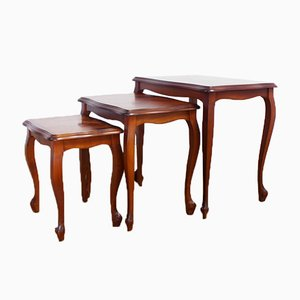 Louis XV Style Nesting Tables in Cherry, Set of 3