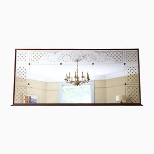 Italian Mahogany Chateau Overmantle or Wall Mirror, 1950s