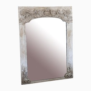 Antique Painted Chateau Overmantle or Wall Mirror