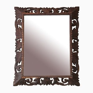 Florentine Carved Padauk Overmantle Wall Mirror