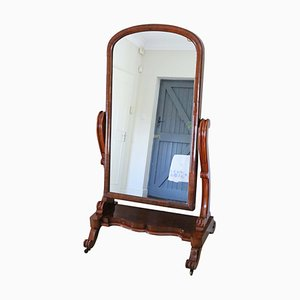 Miroir Cheval 19ème Siècle Victorien en Acajou