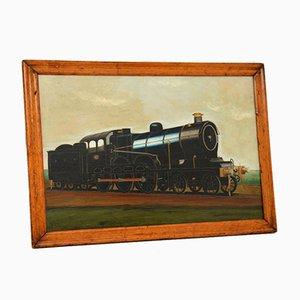 Pintura al óleo victoriana antigua de locomotora de vapor