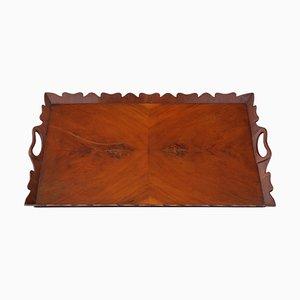 Vintage Figured Walnut Oval Serving Tea Tray