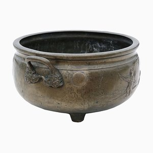 Chinese Japanese Oriental Bronze Planter Bowl, 19th Century