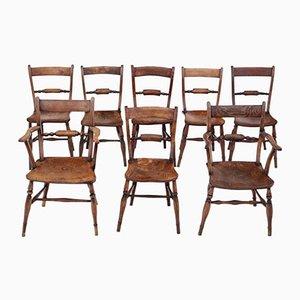 Chaises de Salle à Manger Oxford Mid-Century en Orme et Hêtre, Set de 8