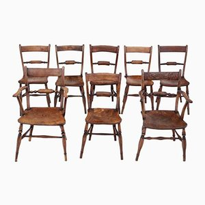 Mid-19th Century Elm & Beech Oxford Knife-Back Kitchen Dining Chairs, Set of 8